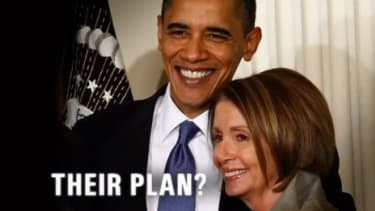 Mitt Romney's latest attack ad against Obama repeatedly employs this image of the president embracing Nancy Pelosi.