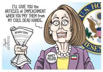 Political Cartoon U.S. Pelosi Holding On To Articles Of Impeachment Trump
