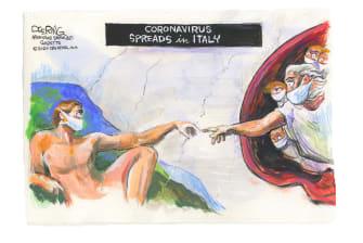 Editorial Cartoon World Coronavirus Creation of Adam Italy