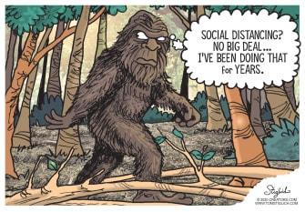 Editorial Cartoon Bigfoot social distance coronavirus