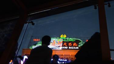 The Grand Bazaar in Urumqi, capital of China's far west Xinjiang region.