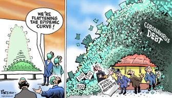 Political Cartoon U.S. flatten the curve post economic turmoil coronavirus debt