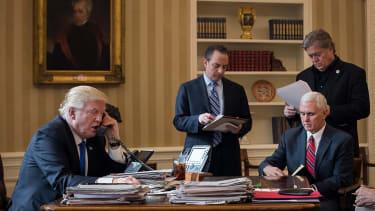 President Trump talks with Russian President Vladimir Putin