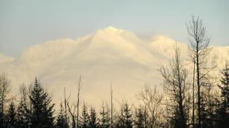 A snowy mountain in Alaska.