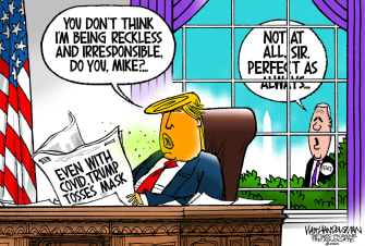 Political Cartoon U.S. Trump Pence COVID