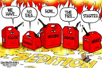 Political Cartoon U.S. GOP sedition Capitol riot