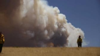 An officer walks through a field as smoke billows over Arizona's White Mountains: An eastern Arizona wildfire has been blazing out of control for nearly two weeks.
