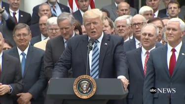 President Trump gave a speech about the health-care victory.