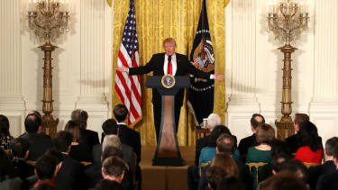 Trump holds a solo news conference in February 2017