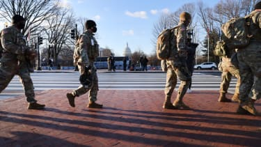 National Guard members outside the Capitol.