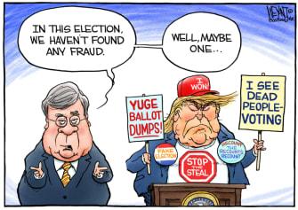 Political Cartoon U.S. Trump Barr election fraud