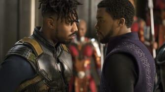 Michael B. Jordan and Chadwick Boseman in 'Black Panther.'
