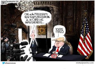Political Cartoon U.S. Trump new years resolution impulsiveness