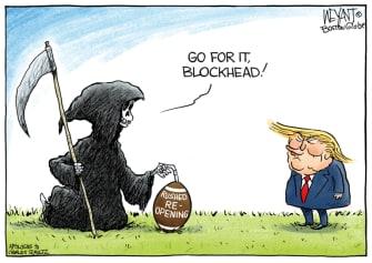 Political Cartoon U.S. Trump Peanuts football coronavirus reopening