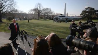 President Donald Trump faces the press.