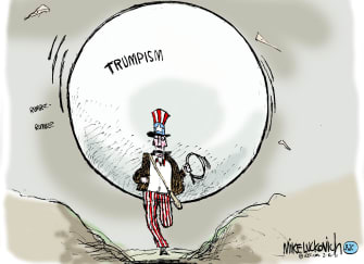 Political Cartoon U.S. trumpism indiana jones