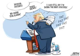 Political Cartoon U.S. Trump pat on back coronavirus response
