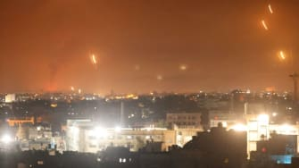 Rockets are fired from Gaza into Israel.
