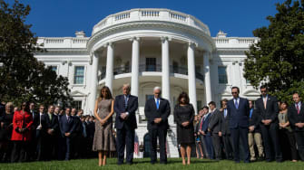 The White House holds a moment of silence on the South Lawn for the victims of the Las Vegas shooting.