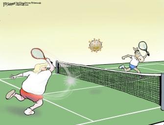 Political Cartoon U.S. Trump dems play tennis bounce back coronavirus blame