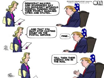 Political Cartoon U.S. Trump Democrats USPS