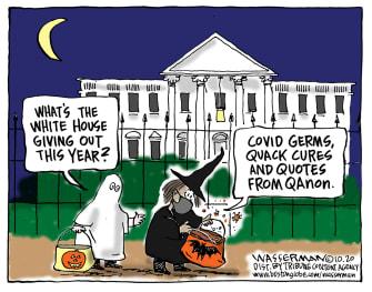 Political Cartoon U.S. COVID White House Halloween