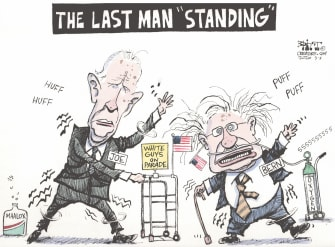 Political Cartoon U.S. Joe Biden Bernie Sanders DNC democratic primaries 2020 candidates old