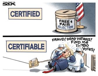 Political Cartoon U.S. Trump Georgia call