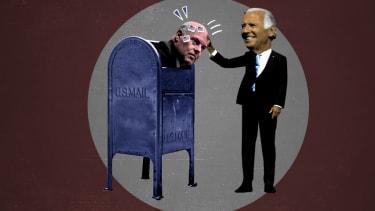 Joe Biden stuffing Louis DeJoy in a mailbox.