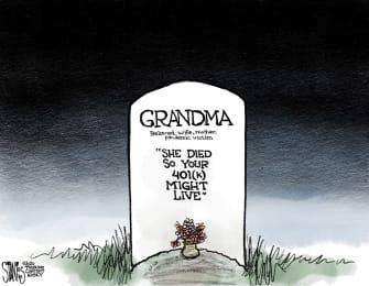 Editorial Cartoon U.S. COVID-19 401K grandma deaths economy