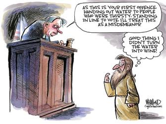 Political Cartoon U.S. jesus voting rights georgia