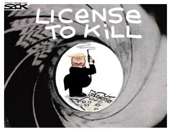 Political Cartoon U.S. Trump James Bond license to kill impeachment