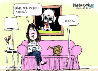 Political Cartoon U.S. Mike Pence Karen Pence Kamala Harris