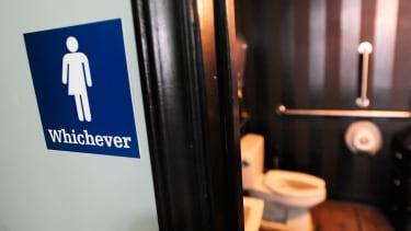 A gender neutral bathroom sign outside a bathroom in North Carolina