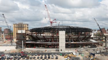 The new Red Wings stadium, one of four new stadiums being built in Detroit.