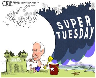 Political Cartoon U.S. Super Tuesday Biden washed out South Carolina
