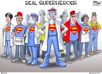 Editorial Cartoon U.S. Superman doctors grocers custodians cooks