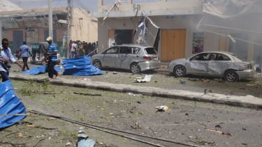 The aftermath of a suicide bombing in Mogadishu