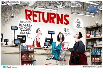 Political Cartoon U.S. Nancy Pelosi impeachment gift return