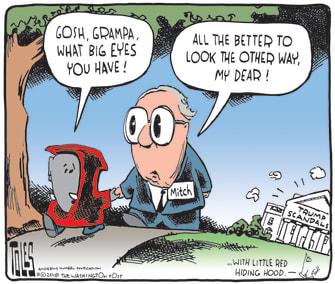 Political cartoon U.S. Trump scandals Mitch McConnell GOP Republicans
