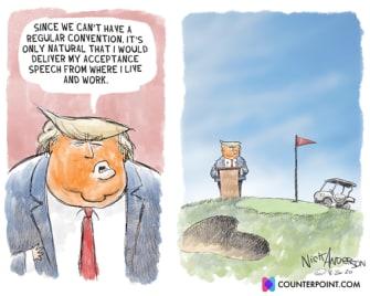 Political Cartoon U.S. Trump RNC golf