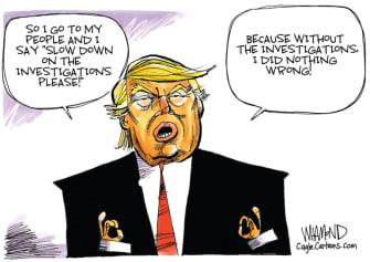 Political Cartoon U.S. Trump investigations coronavirus testing