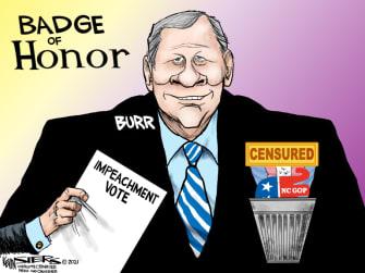 Political Cartoon U.S. richard burr trump impeachment censure