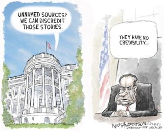 Political Cartoon U.S. Trump Nixon suckers losers
