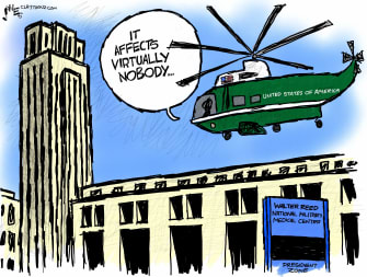 Political Cartoon U.S. Trump COVID affects nobody