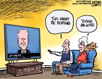 Political Cartoon U.S. Biden boring