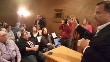 Rep. Dave Brat might have found a strategy for dealing with town hall protesters.