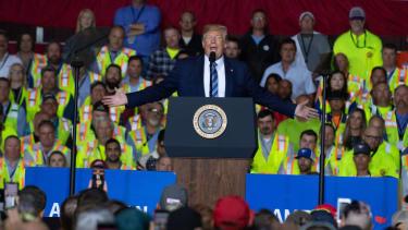 President Trump speaks to people in Pennsylvania.