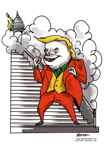 Political Cartoon U.S. Trump Joker Capitol riots