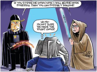 Political Cartoon U.S. trump liz cheney gop star wars